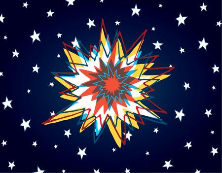 the big bang: Cartoon illustration of big bang or powerful explosion in space Illustration