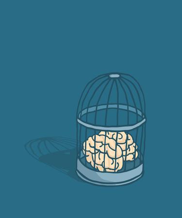 Cartoon illustration of locked brain caged in birdcage