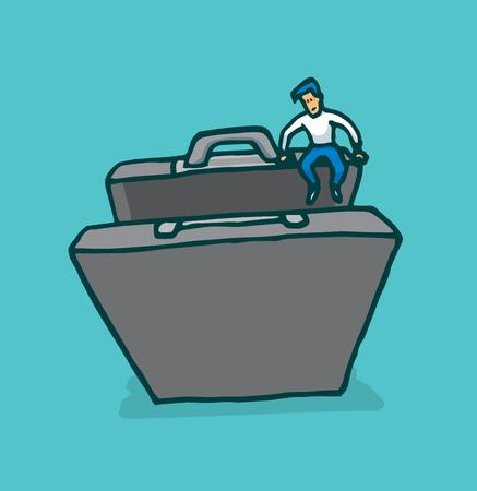 Cartoon illustration of tiny man engaging new business in suitcase or portfolio Illustration