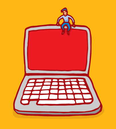 Cartoon illustration of small man sitting on top of laptop computer with copy space Ilustração