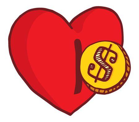 in insert: Cartoon illustration of money entering heart or insert coin incentive slot