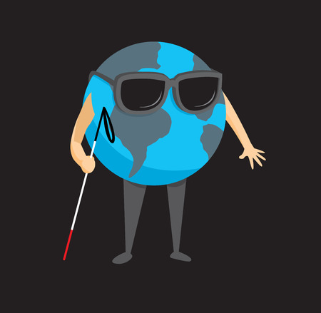disoriented: Cartoon illustration of blind planet earth holding a cane