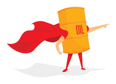 fossil fuel: Cartoon illustration of oil barrel with cape as super hero Illustration