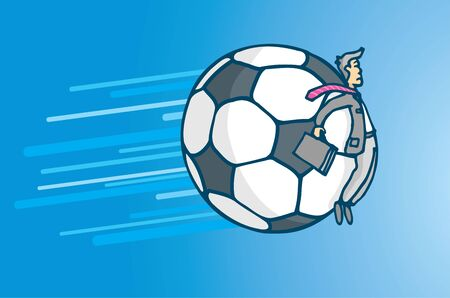 futbol: Cartoon illustration of soccer business or businessman pushed around by giant ball