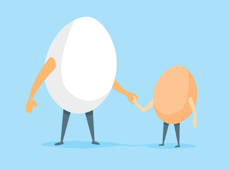 father and son holding hands: Cartoon illustration of egg father and son holding hands