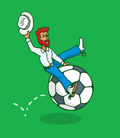 violence in sports: Cartoon illustration of texan riding a soccer ball or rodeo