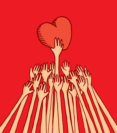 conquer: Cartoon illustration of people struggling for love reaching a heart
