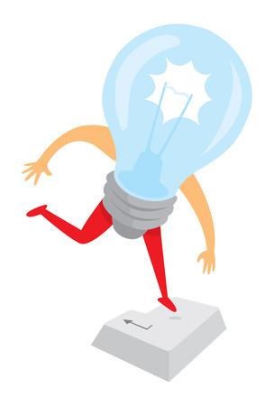 pressing: Cartoon illustration of light bulb idea pressing return key