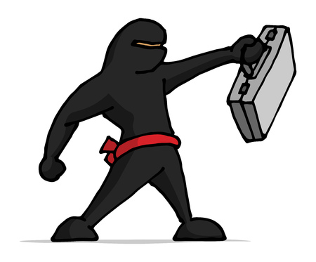 negotiate: Cartoon illustration of ninja businessman holding a business portfolio Illustration