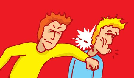 knock out: Cartoon illustration of man punching another on the face in a fight Illustration