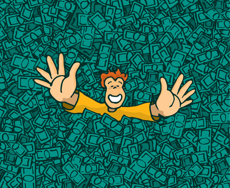 Cartoon illustration of happy rich man raising hands on money pool