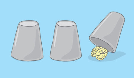 pen cartoon: Cartoon illustration of brain hiding under cups game