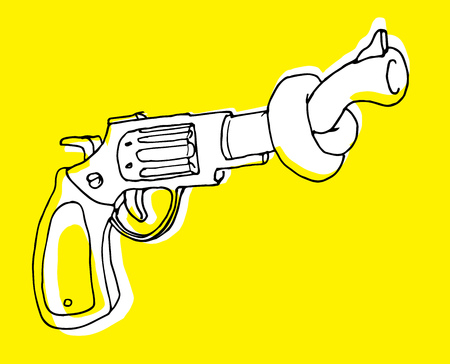 disarm: Cartoon illustration of gun control or pistol with tangled barrel