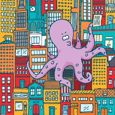 Cartoon illustration of giant monster octopus attacking colorful city