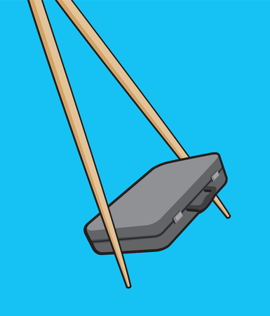 asian business: Cartoon illustration of chopsticks holding a portfolio or asian business Illustration