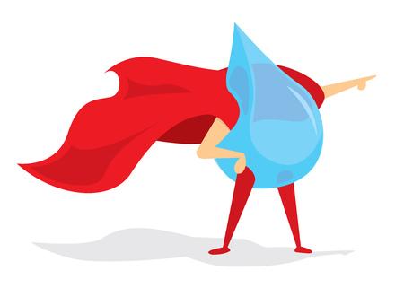 brave: Cartoon illustration of brave drop of water super hero