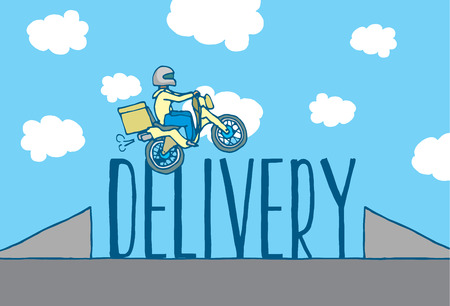 reckless: Cartoon illustration of reckless delivery boy jumping ramp on motorcycle