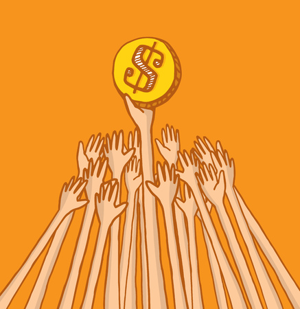 struggling: Cartoon illustration of arms struggling over coin or money