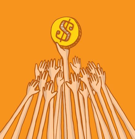 bidding: Cartoon illustration of arms struggling over coin or money