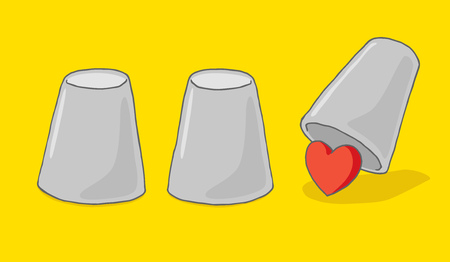 under heart: Cartoon illustration of heart or love hiding under cup game