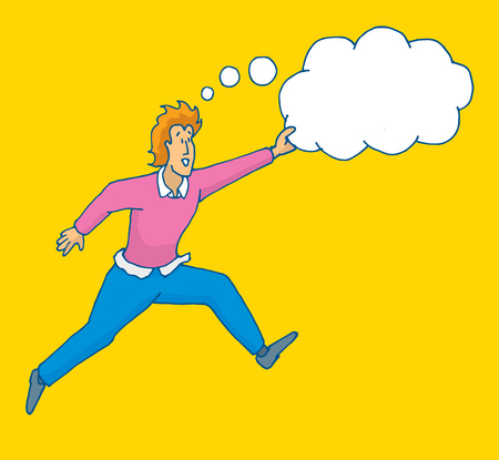 self improvement: Cartoon illustration of brave man jumping catching his dreams or thoughts Illustration