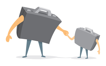 father and son holding hands: Cartoon illustration of business suitcase father and son holding hands