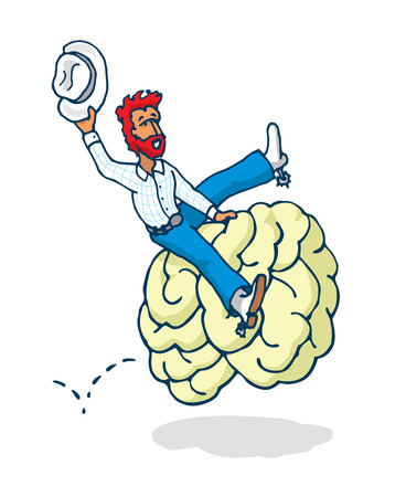 mind: Cartoon illustration of texan cowboy riding a wild brain in mind rodeo