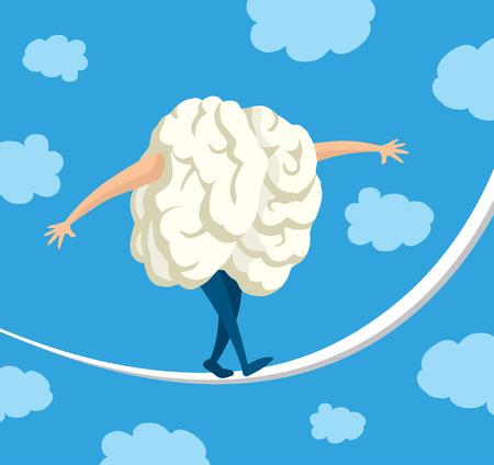 Cartoon illustration of brain balancing on a string