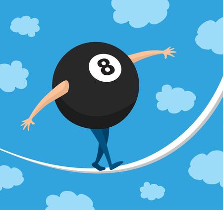 bola ocho: Ilustraci�n de dibujos animados de ocho bolas de equilibrio en una cuerda