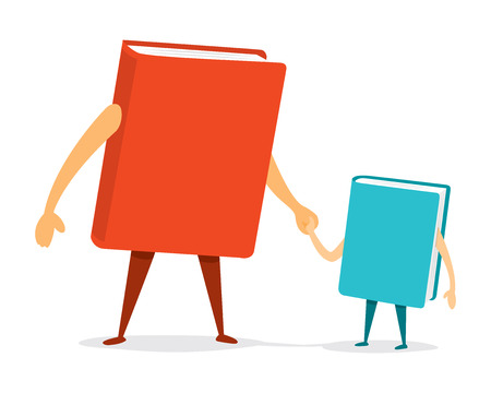 father and son holding hands: Cartoon illustration of book father and son holding hands