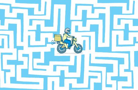 stranded: Cartoon illustration of lost delivery boy stranded in maze