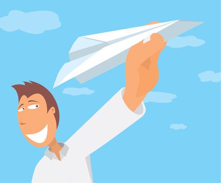 fly cartoon: Cartoon illustration of man holding a paper plane taking off Illustration