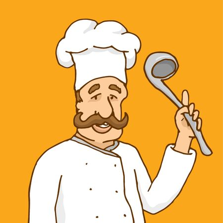 experienced: Cartoon illustration of experienced chef cooking with soup spoon detailing a recipee Illustration