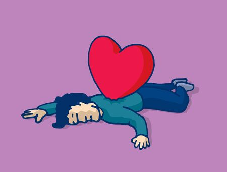 stabbed: Cartoon illustration man lying on the floor heart stabbed on his back