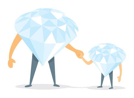 father and son holding hands: Cartoon illustration of diamond father and son holding hands Illustration