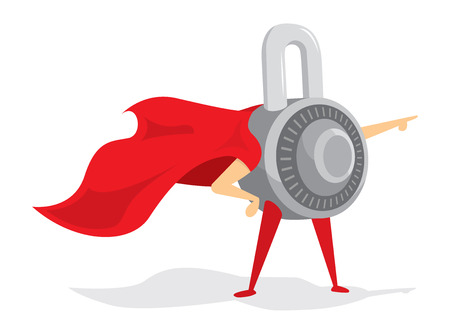 safe guard: Cartoon illustration combination padlock as security super hero