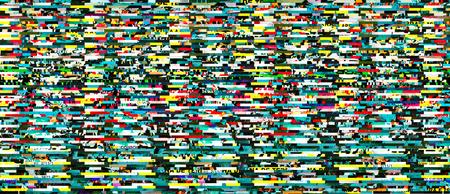 Digital capture of colorful display error or random glitch noise Stock Photo