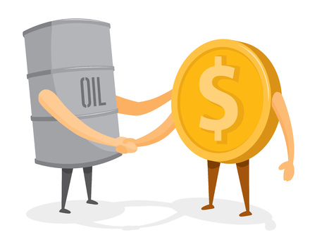 Cartoon illustration of friendly handshake between oil barrel and gold coin