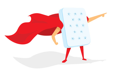 Cartoon illustration of comfortable mattress hero saving the day Çizim