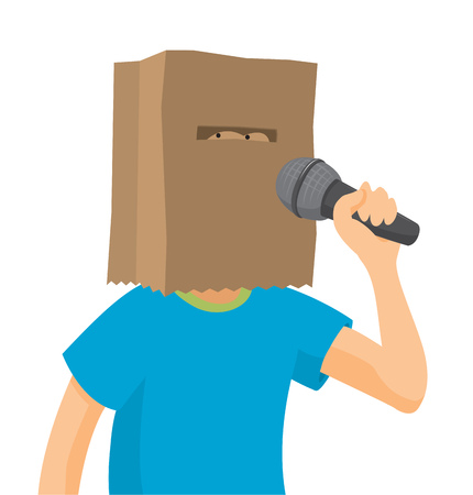 Cartoon illystration of shy man singing with paper bag on his head Illustration