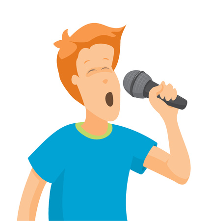 Cartoon illustration of young boy singing on microphone Illustration