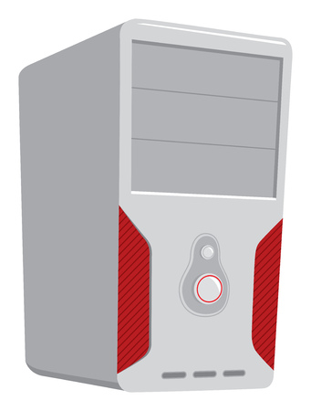 Cartoon illustration of computer or cpu unit with red lights