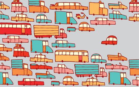 Cartoon illustration of rebel car facing traffic the wrong way