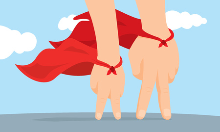 Cartoon illustration of father and son hand super hero with cape Çizim