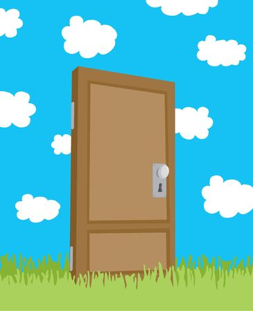 nowhere: Cartoon illustration of unique door in a field leafing nowhere Illustration