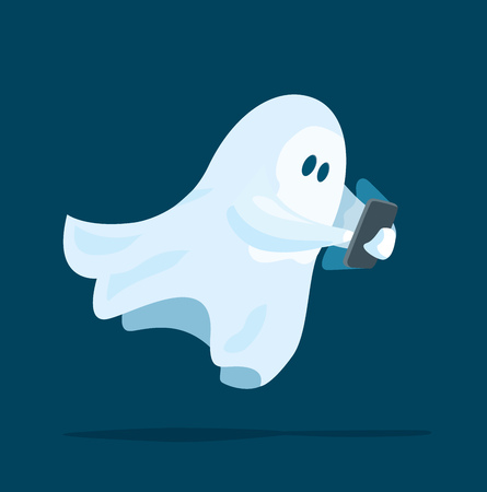 paranormal: Cartoon illustration of funny ghost using a mobile or smart phone
