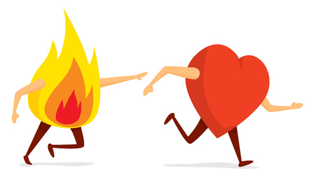 Cartoon illustration of funny fire chasing red heart