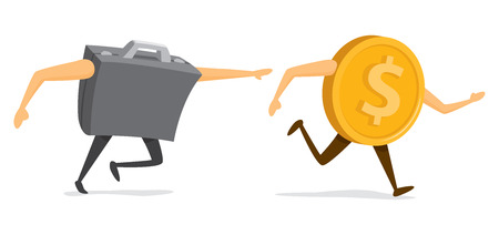 Cartoon illustration of funny chase between business portfolio and money