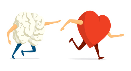 Cartoon illustration of funny chase between brain and heart