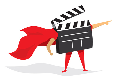 Cartoon illustration of film super hero saving the day Illustration